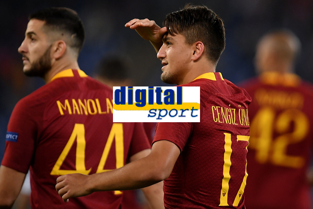 Cengiz Under of AS Roma celebrates after scoring the goal of 3-0 during the Uefa Champions League 2018/2019 Group G football match between AS Roma and CSKA Moscow at Olimpico stadium Allianz Stadium, Rome, October, 23, 2018 <br />  Foto Andrea Staccioli / Insidefoto