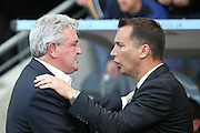 Hull City manager Steve Bruce and Derby County manager Darren Wassall  during the Sky Bet Championship play-off 2nd leg match between Hull City and Derby County at the KC Stadium, Kingston upon Hull, England on 17 May 2016. Photo by Simon Davies.