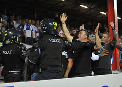 Bristol rovers fans get confronted by police.  - Photo mandatory by-line: Alex James/JMP - Tel: Mobile: 07966 386802 04/09/2013 - SPORT - FOOTBALL -  Ashton Gate - Bristol - Bristol City V Bristol Rovers - Johnstone Paint Trophy - First Round - Bristol Derby