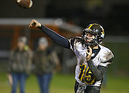 Midland's Hagan Ackley (15) throws a pass during their game at Allison Field in Springville on Friday October 19, 2012. Midland defeated Springville 30-29.