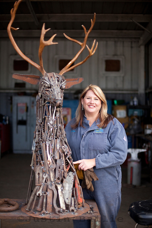 Portrait of sculptor Linda Wise in Eureka, CA. She makes amazing sculptures out of old pieces of metal and antlers.