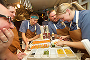 NEW YORK, NY - October 5, 2015: Chef Matthew Jennings (Center-right), and his team from The Townsman in Boston at the James Beard House.<br /> <br /> CREDIT: Clay Williams for the James Beard Foundation.<br /> <br /> © Clay Williams / claywilliamsphoto.com