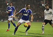 Ipswich defender and captain Luke Chambers holding up the ball during the Sky Bet Championship match between Fulham and Ipswich Town at Craven Cottage, London, England on 15 December 2015. Photo by Matthew Redman.