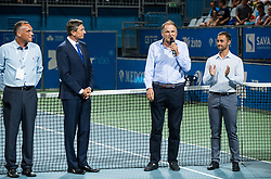 Gasper Bolhar, Borut Pahor, president of Slovenia, Marko Umberger, president of Tenis Slovenija and Aljaz Kos, tournament director during the Trophy ceremony after the Final Singles match at Day 9 of ATP Challenger Zavarovalnica Sava Slovenia Open 2018, on August 11, 2018 in Sports centre, Portoroz/Portorose, Slovenia. Photo by Vid Ponikvar / Sportida
