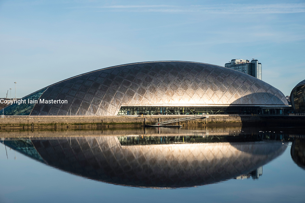 View of Glasgow Science Centre North Quay beside River Clyde on blue sky wintery, Scotland, United Kingdom