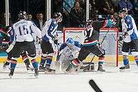 KELOWNA, CANADA, NOVEMBER 25: Nathan Lieuwen #31 of the Kootenay Ice defends the net as the Kootenay Ice visit the Kelowna Rockets  on November 25, 2011 at Prospera Place in Kelowna, British Columbia, Canada (Photo by Marissa Baecker/Shoot the Breeze) *** Local Caption *** Nathan Lieuwen;