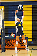 Milpitas junior Rochella Gutierrez (23) sets the ball during a home game against Monta Vista High School on Sept. 10, 2012.  Milpitas would go on to lose in 4 sets, 7-25, 16-25, INSERT SCORE, 17-25.  Photo by Stan Olszewski/SOSKIphoto.
