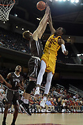 Nov 22, 2017; Los Angeles, CA, USA; Southern California Trojans guard Shaqquan Aaron (0) is fouled by Lehigh Mountain Hawks center James Karnik (13) during an NCAA basketball game at Galen Center. USC defeated Lehigh 88-63.