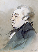 Portrait of Joseph Prudhomme'.  Watercolour by Henri Monnier (1805-1877) French cartoonist. The Prudhommes were a bourgeois French couple created by Monnier in about 1830.