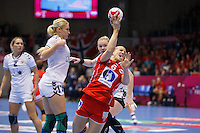 Frederikshavn, Danmark:<br /> IHF VM  H&aring;ndbold for kvinder Danmark 2015 Norge- Rusland,Heidi L&oslash;ke<br /> Fotograf: Morten Olsen<br /> <br /> Frederikshavn, Denmark:<br /> Norway - Russia<br /> IHF Women&acute;s Handball World Championship Denmark 2015,Heidi L&oslash;ke<br /> <br /> Photographer: Morten Olsen
