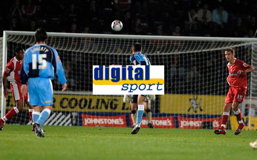 Photo: Richard Lane.<br /> Wycombe Wanderers v Swindon Town. Johnstone's Paint Trophy. 17/10/2006. <br /> Wycombe's Ian Stonebridge fires in a long range goal.
