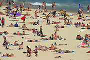 Hundreds of beach-goers bask in the sun at Bondi Beach in Sydney, Australia.