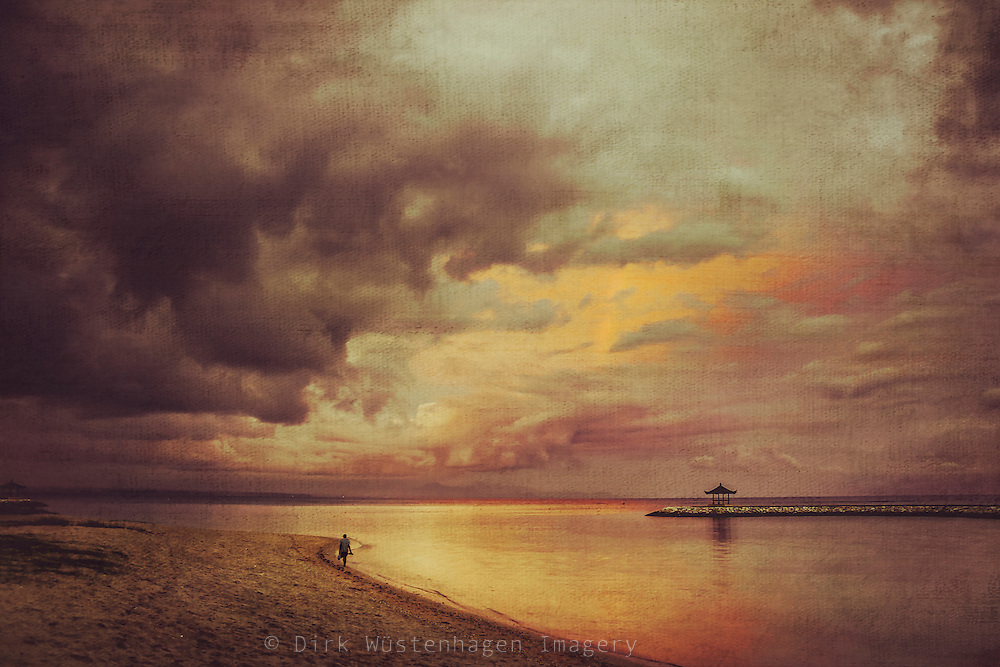 Sanur Beach after a rainstorm - textured photograph<br />