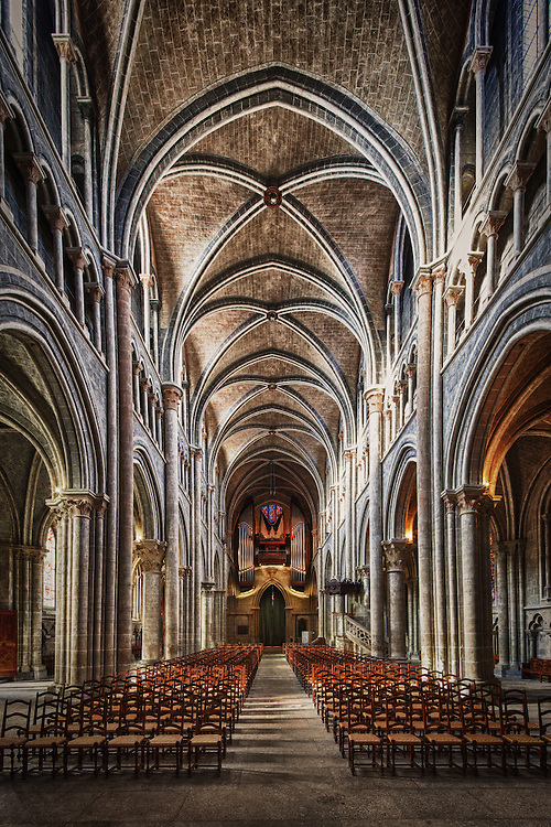 Central aisle of the Lausanne cathedral, Switzerland