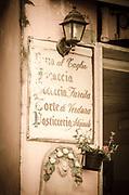 Restaurant menu, Riomaggiore, Cinque Terre, Liguria, Italy