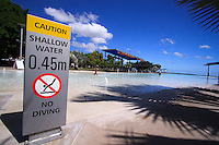 Shallow water for the majority of the pool makes this a safe place for young children to play. The Cairns Esplanade lagoon, far north Queensland, Australia