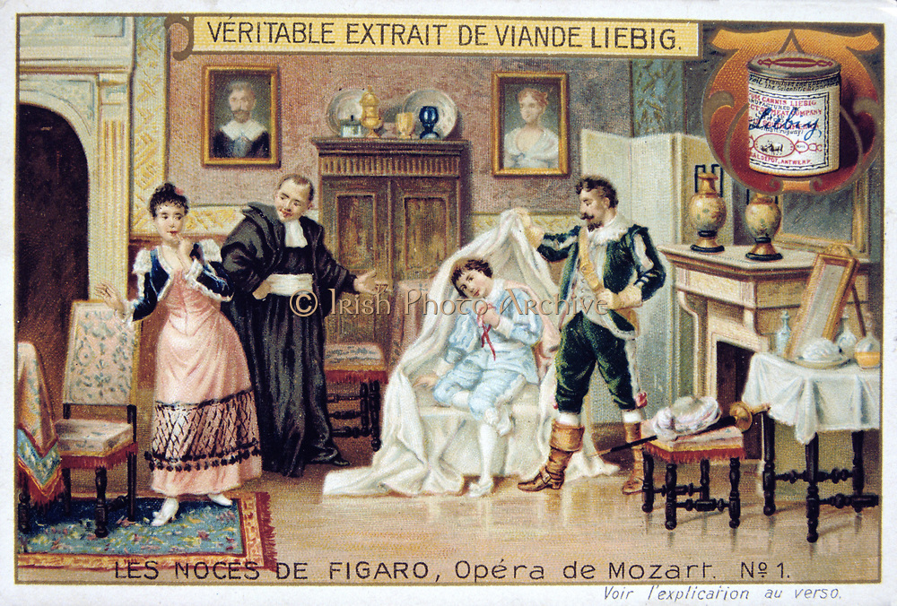 Scene from Mozart's opera 'The Marriage of Figaro' 1786  (1905).  (Le Nozze di Figaro), comic opera (opera buffa) with libretto by Lorenzo da Ponte (1749-1838) after Beaumarchais, first performed on l May 1786 at the Burgtheater, Vienna.   Count Almaviva uncovering the page Cherubino in his hiding place, an armchair.  The other figures are Susanna, maid to Countess Almaviva, and Don Basilio, a music master. From 'Les Noces de Figaro', one of set of trade cards issued by Liebig & Co, 1905.