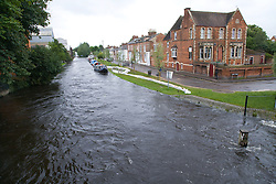 Raised water levels subsiding after torrential rain caused the Oxford Canal to flood; July 2007,