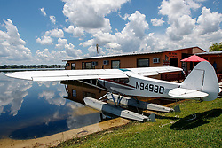 1958 Piper PA-18-150 Super Cub (N9493D) beached on the shores of Lake Jessie, Jack Brown's Seaplane Base (F57), Winter Haven, Florida, United States of America