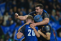 December 16, 2017 - Dublin, Ireland - Leinster team celebrate after Luke McGrath scores a try against Exeter Chiefs during the  European Rugby Champions Cup rugby match at Aviva Stadium...On Saturday, 16 December 2017, in Dublin, Ireland. (Credit Image: © Artur Widak/NurPhoto via ZUMA Press)