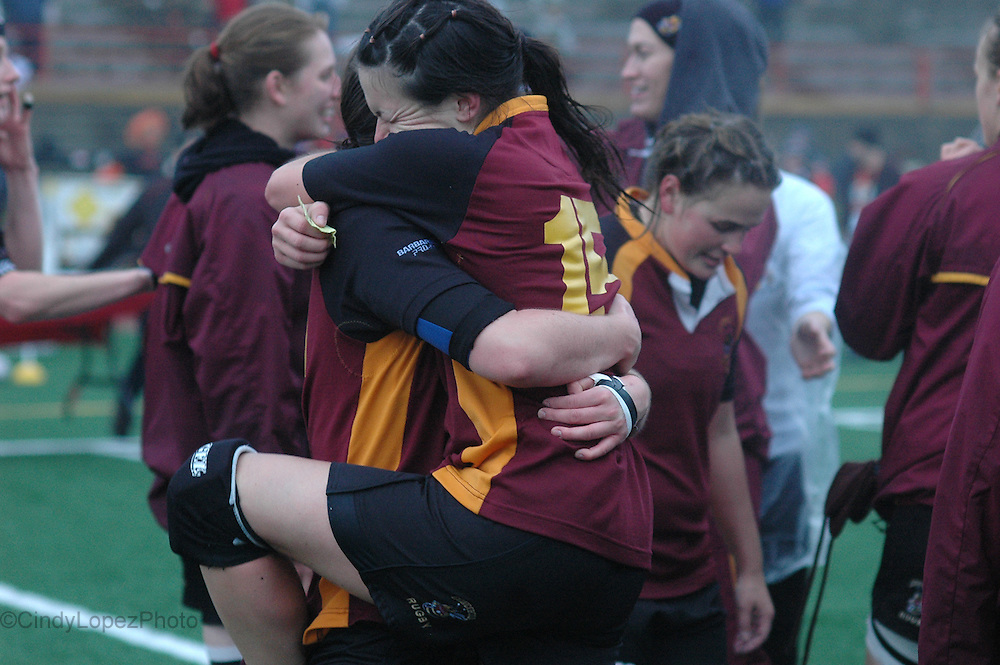 The Concordia Stingers Women's Rugby team celebrates after beating Laval 13-10 in overtime in the RSEQ final at Laval. (Published in The Concordian. October 2009).