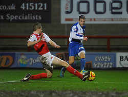 Bristol Rovers' Lee Brown crosses the ball - Photo mandatory by-line: Dougie Allward/JMP - Tel: Mobile: 07966 386802 14/12/2013 - SPORT - Football - Morecombe - Globe Arena - Morecombe v Bristol Rovers - Sky Bet League Two