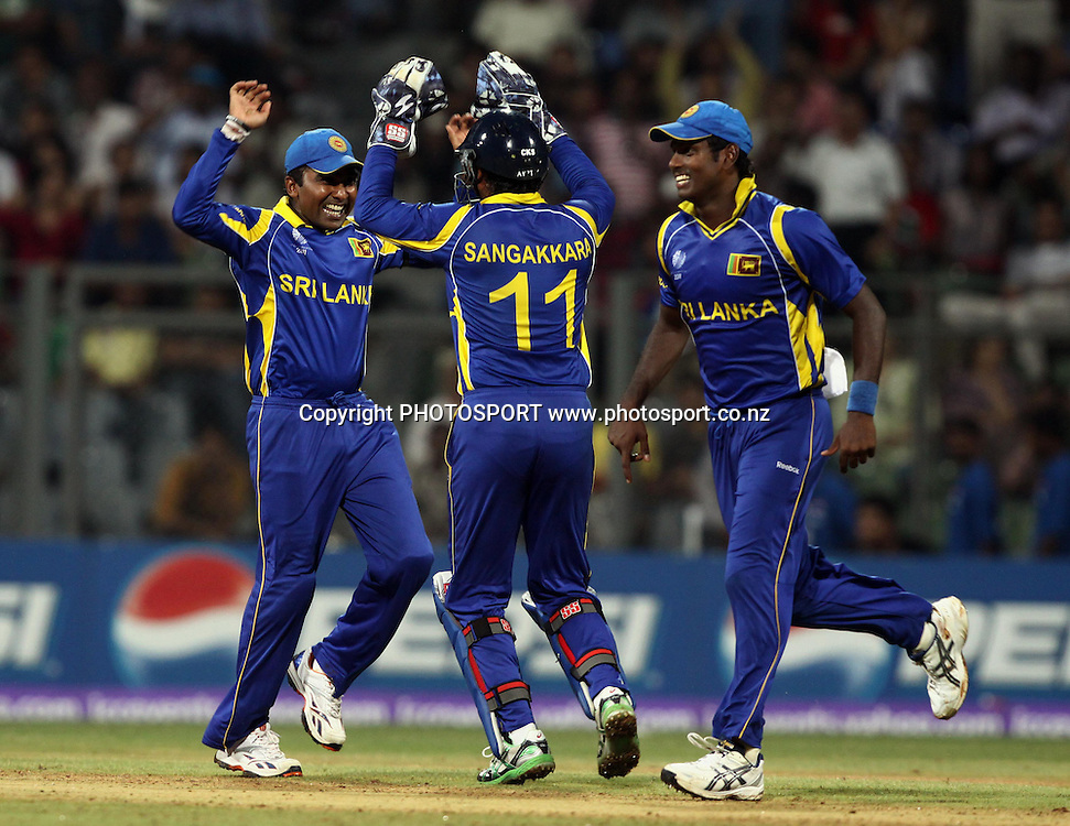 Sri Lankan Players celebrates Against New Zealand During the ICC Cricket World Cup - 38th Match, Group A Sri Lanka vs New Zealand  Played at Wankhede Stadium, Mumbai (neutral venue) 18 March 2011 - day/night (50-over match)