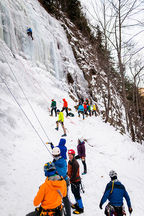 AMC Ice Program on the first day of climbing at Frankenstien Cliffs