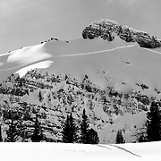 Huge avalanche crowns in the Teton backcountry.