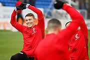 Sheffield United forward Caolan Lavery (9) warming up before the EFL Sky Bet League 1 match between Peterborough United and Sheffield Utd at London Road, Peterborough, England on 11 February 2017. Photo by Nigel Cole.