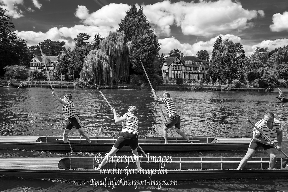 """Maidenhead, United Kingdom.  Two mixed doubles, competing at the  """"Thames Punting Club Regatta"""", Bray Reach.<br /> 13:20:21 Sunday  06/08/2017<br /> <br /> [Mandatory Credit. Peter SPURRIER Intersport Images}.<br /> <br /> LEICA Q (Typ 116) 28mm  f1.7   1/6400 /sec    100 ISO .......... Summer, Sport, Sunny, Bright, Blue Skies, Skilful,"""
