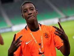 Riechedly Bazoer of Netherlands celebrates after winning the UEFA European Under-17 Championship Final match between Germany and Netherlands on May 16, 2012 in SRC Stozice, Ljubljana, Slovenia. Netherlands defeated Germany after penalty shots and became European Under-17 Champion 2012. (Photo by Vid Ponikvar / Sportida.com)