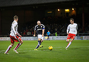 Dundee&rsquo;s Gary Harkins shot is on it's way into the net to clinch his side's place in the fifth round of the cup  - Dundee v Falkirk, William Hill Scottish Cup Fourth Round at Dens Park <br /> <br />  - &copy; David Young - www.davidyoungphoto.co.uk - email: davidyoungphoto@gmail.com