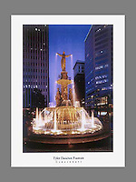 Signed and numbered 19x24 poster of the Tyler Davidson Fountain at Fountain Square during the twilight hour in Cincinnati