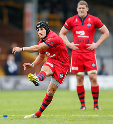 Bristol Fly-Half Matthew Morgan kicks a Penalty to seal a 13-26 victory for his team - Photo mandatory by-line: Rogan Thomson/JMP - 07966 386802 - 14/09/2014 - SPORT - RUGBY UNION - Leeds, England - Headingley Carnegie Stadium - Yorkshire Carnegie v Bristol Rugby - Greene King IPA Championship.