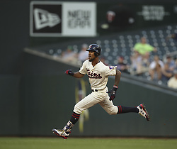 June 14, 2017 - Minneapolis, MN, U.S.A - Minnesota Twins center fielder Byron Buxton sprinted to second after his third inning hit to left.  ]  JEFF WHEELER • jeff.wheeler@startribune.com ....The Minnesota Twins met the Seattle Mariners again Wednesday night, June 14, 2017 at Target Field in Minneapolis. (Credit Image: © Jeff Wheeler/Minneapolis Star Tribune via ZUMA Wire)