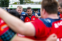 Bristol Rugby Flanker Marco Mama looks on as Bristol Rugby huddle after they win the match 16-45 to take a 29 point lead into the 2nd leg at Ashton Gate - Mandatory byline: Rogan Thomson/JMP - 01/05/2016 - RUGBY UNION - Goldington Road - Bedford, England - Bedford Blues v Bristol Rugby - Greene King IPA Championship Play Off Semi Final 1st Leg.