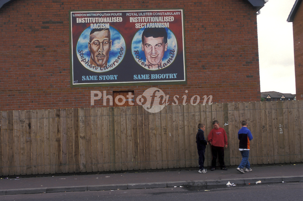 Republican murals in Belfast - Stephen Lawrence and Robert Hamill anti police mural