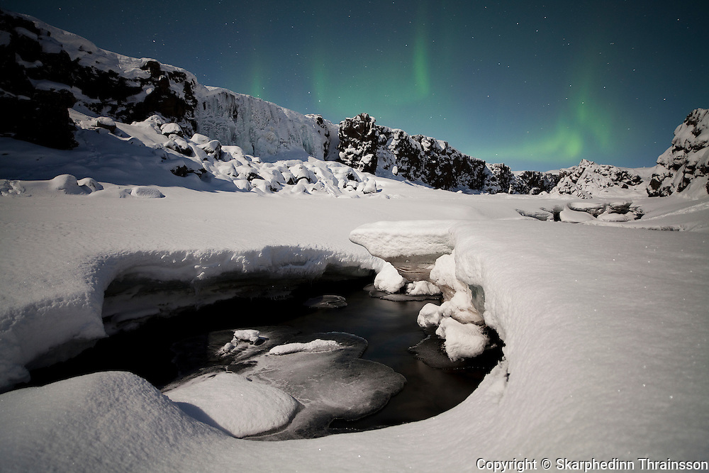Winter night at Þingvellir National Park, southwest Iceland