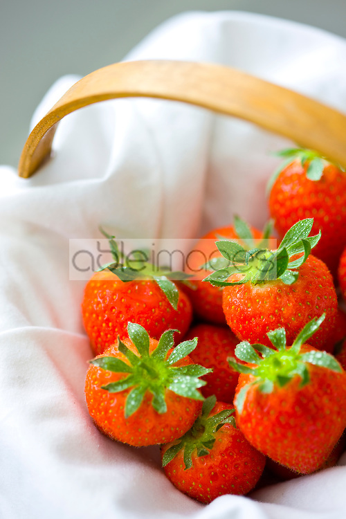 Close up of strawberries in a basket