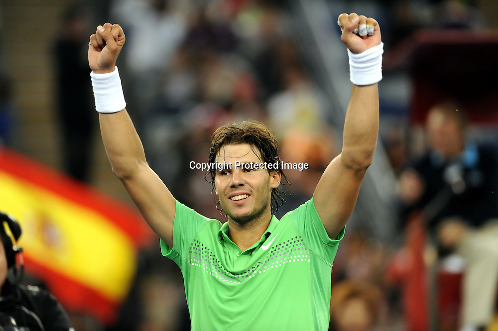 Oct 08, 2009, Beijing, China, Rafael Nadal of Spain defeats James Blake of USA 2:1 in the second round of China Open at the National Tennis Center.