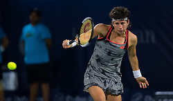 February 21, 2019 - Dubai, ARAB EMIRATES - Carla Suarez Navarro of Spain in action during her quarter-final match at the 2019 Dubai Duty Free Tennis Championships WTA Premier 5 tennis tournament (Credit Image: © AFP7 via ZUMA Wire)