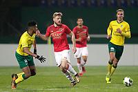 (L-R) *Driess Saddiki* of Fortuna Sittard, *Fredrik Midtsjo* of AZ Alkmaar, *Finn Stokkers* of Fortuna Sittard