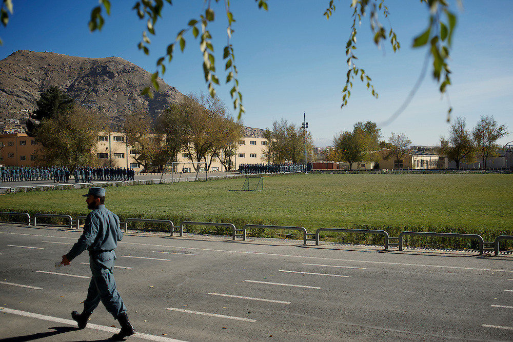 A Afghan National Police (ANP) commander passes by the exercise yard at the Afghan Nacional Police Academy in Kabul.