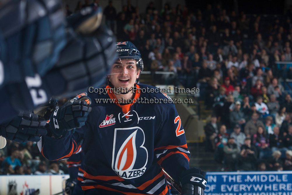KELOWNA, CANADA - MARCH 31: Quinn  Benjafield #22 of the Kamloops Blazers celebrates a goal against the Kelowna Rockets on March 31, 2017 at Prospera Place in Kelowna, British Columbia, Canada.  (Photo by Marissa Baecker/Shoot the Breeze)  *** Local Caption ***