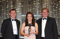 CARDIFF, WALES - Monday, October 8, 2012: Wales' Angharad James picks up the club player of the year award on behalf of Gwennan Harries with Jarmo Matikainen [l] and Brains' John Rhys [r] during the FAW Player of the Year Awards Dinner at the National Museum Cardiff. (Pic by David Rawcliffe/Propaganda)
