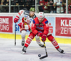 13.03.2019, Stadthalle, Klagenfurt, AUT, EBEL, EC KAC vs HCB Suedtirol Alperia, Viertelfinale, 1. Spiel, im Bild Markus NORDLUND (HCB Suedtirol Alperia, #40), Siim LIIVIK (EC KAC, #72) // during the Erste Bank Icehockey 1st quarterfinal match between EC KAC and HCB Suedtirol Alperia at the Stadthalle in Klagenfurt, Austria on 2019/03/13. EXPA Pictures © 2019, PhotoCredit: EXPA/ Gert Steinthaler