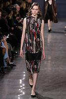Lia Pavlova walks the runway wearing Jason Wu Fall 2016, Hair by Paul Hanlon for Morocconoil, Makeup by Yadim for Maybelline, shot by Thomas Concordia during New York Fashion Week on February 12, 2016