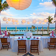 Wedding setup by the pool. Hotel Grand Velas Riviera Maya