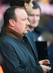 LIVERPOOL, ENGLAND - Sunday, March 28, 2010: Liverpool's manager Rafael Benitez sees his side take on Sunderland during the Premiership match at Anfield. (Photo by: David Rawcliffe/Propaganda)